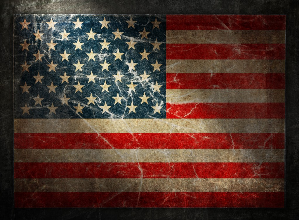 Grunge flag of USA. Horizontal composition